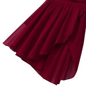 Image 5 - נשים מבוגרים בנות בלט רוקד שמלות ללא שרוולים לגזור אסימטרית שיפון נמתח בלט ריקוד התעמלות בגד גוף שמלה