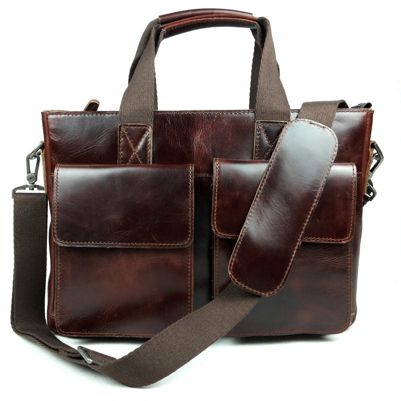 где купить  100% Vintage Genuine Cow Leather Man Red Brown Business Handbags Messenger Laptop Totes Cross-body Hand Bag Free Shipping  по лучшей цене