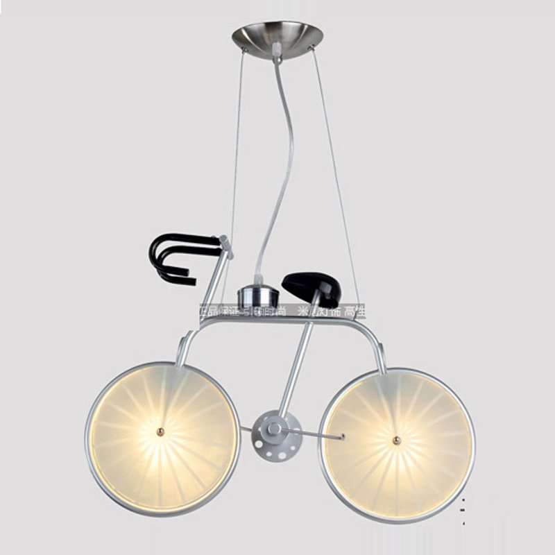 Frosted Glass Bicycle Kid's Bedroom Pendant Light Modern Bike Style Dining Room Creative Pendant Lamp Boy's Room Hanging Lamps one light frosted glass antique rust hanging lantern