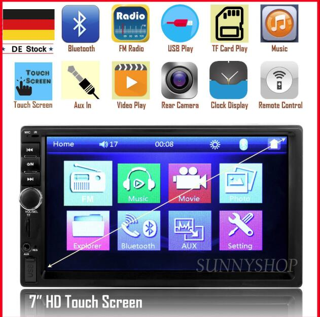 7018 2 Din 7 inch HD Touch Screen Bluetooth In Dash DVD 12V Car Stereo Radio FM Function AUX USB MP3 MP5 Player Support TF free shipping 6 2 inch full hd digital capacitive touch screen fm radio bluetooth usb multi media dvd mp5 player bass