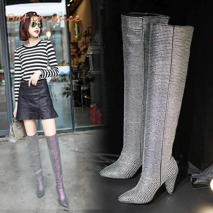 High quality women Pumps Thigh High Boots shoes Winter women Pointed Toe  Crystal High Heels derss 8cf1cb39b245