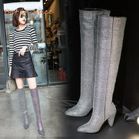 High quality women Pumps Thigh High Boots shoes Winter women Pointed Toe Crystal High Heels derss snow Over The knee Boots W482