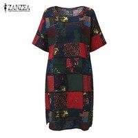 2017 ZANZEA Boho Summer O Neck Short Sleeve Floral Print Women Loose Split Casual Knee Length