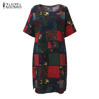 2017 ZANZEA Boho Summer O Neck Short Sleeve Floral Print Women Loose Split Casual Knee Length
