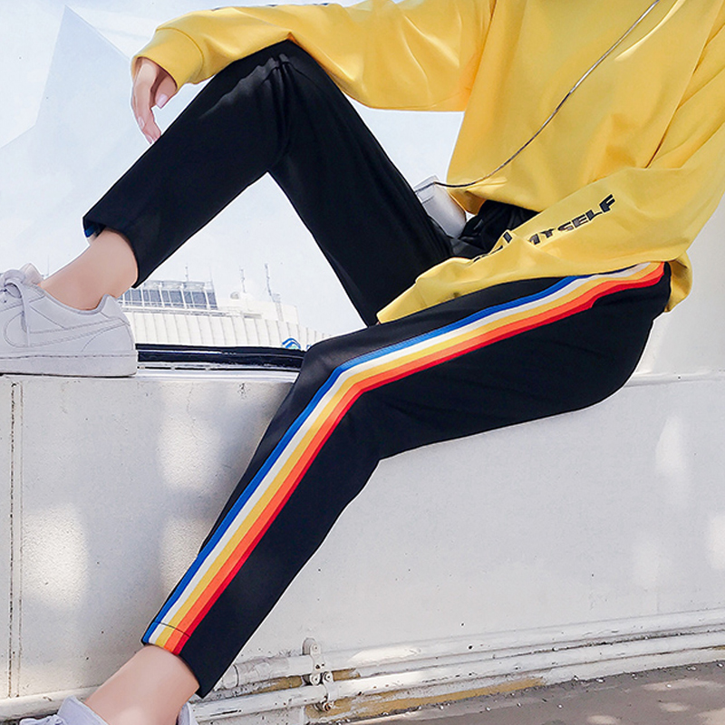 Women's Patchwork Rainbow stripes Jogger Pants loose Trousers Elasticity Sweatpants Women Casual Streetwear student Harem pants