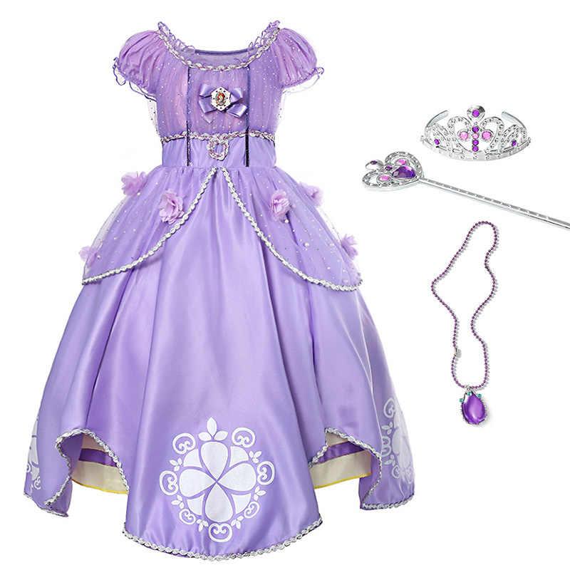 64e94b90d028098 YOFEEL/платье принцессы Софии для девочек ребенок блёстки Цветы бальное  Дети Хэллоуин одежда вечеринок мультяшный
