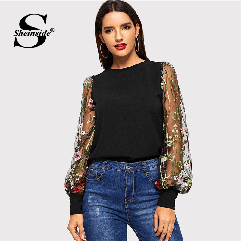 Sheinside Black Embroidered Flower Sheer Mesh Top Women Long Sleeve Blouse Shirt 2019 Womens Tops Casual Ladies Blouses & Shirts