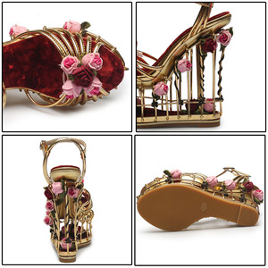 Image 4 - Phoentin Sandalias doradas con flores para mujer, zapatos femeninos de tacón superalto, de plataforma de 16cm, para boda, con correa en el tobillo, hebilla de fiesta, FT337