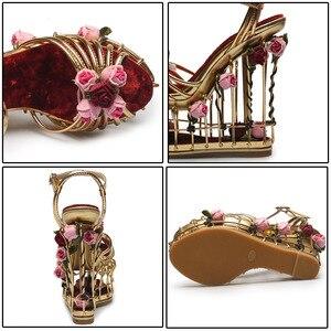 Image 4 - Phoentin gold flower sandals women super high heel 16cm platform wedding shoes ankle strap buckle luxury party shoes woman FT337