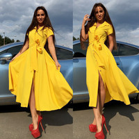 Yellow pink red green orange blue women short sleeve button down slit long shirt dress with sashes Ladies autumn cape dress
