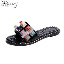 Rimocy хрустальные башмачки женщины 2017 летом скольжения на красочные камни повседневная тапочки мода wman пляжные сандалии слайды плоским вьетнамки