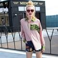 2017 Nova de Algodão Da Listra Camisa de manga comprida feminina primavera new casual solto moda decorativo rendas Camisa Impressão Da Listra das Mulheres