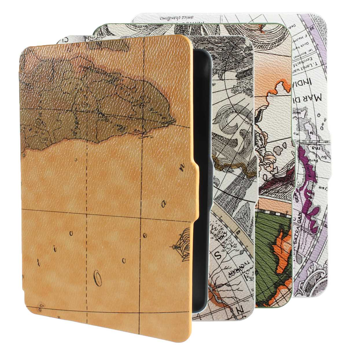 6 inch Retro World Map Pattens PU Leather Smart Anti-Dust Paperwhite cover case Pad for kindle with wakeup/sleep function