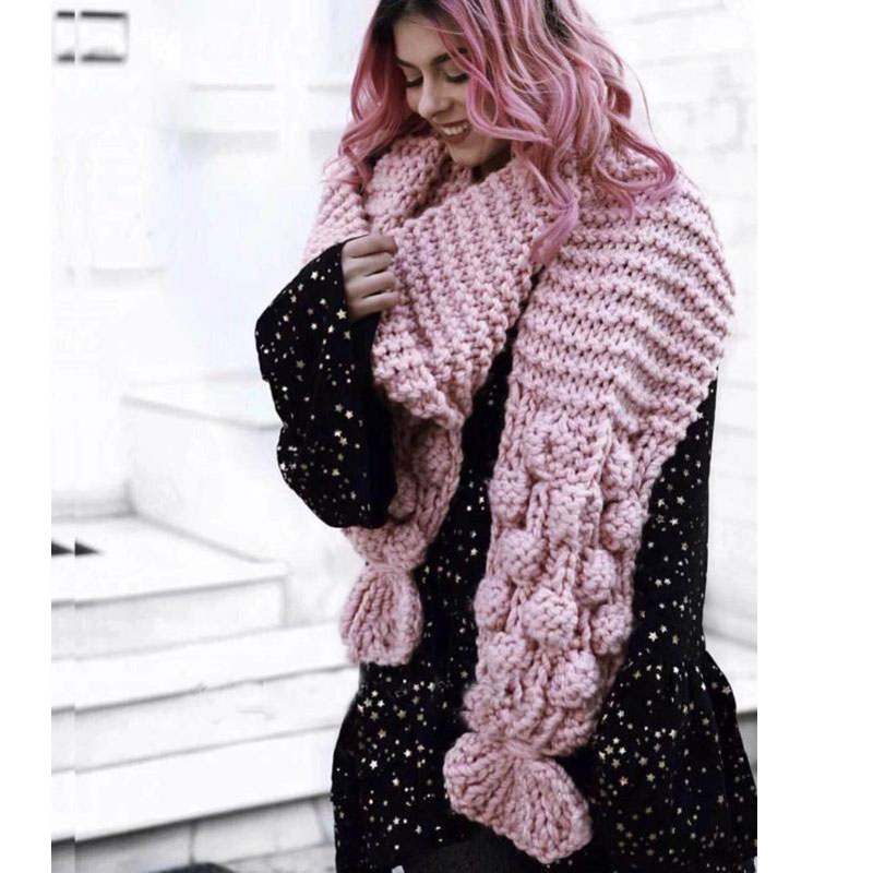 Luxury Hand Knitted Scarf 3D Woven Balls Wraps XL Coarse Wool Shawls Woman Flowers Crocheted Scarves 2018 New Arrival