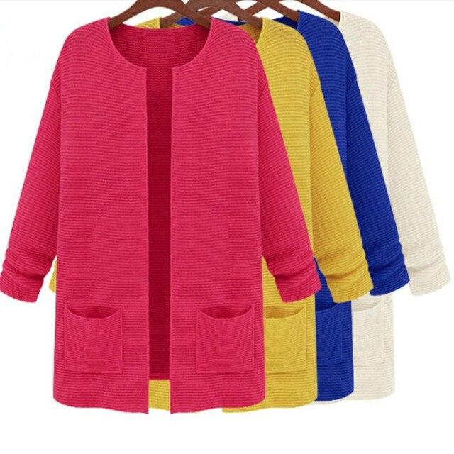Женщины свитера 2016 весна осень женщины свободного покроя конфеты цвета кардиганы с карманными длинным рукавом вязаный свитер пальто D1238