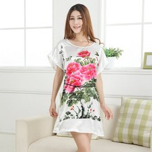 Plus Size Summer Ladies Sexy Robe Dress Chinese Style Vintage Print Sleepshirt Nightgown Sexy Mini Bath Gown Flower Pajama A150