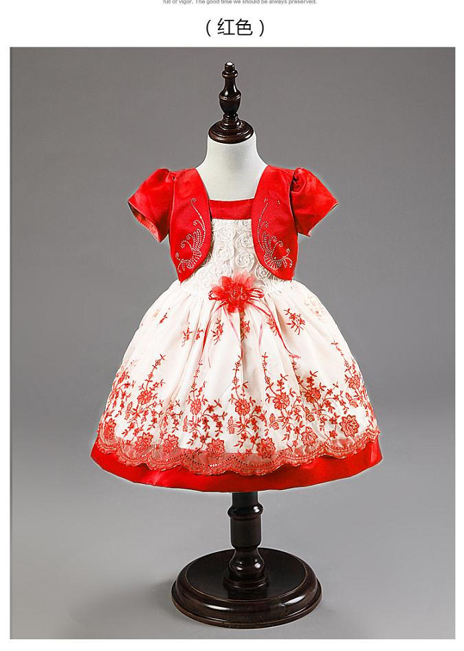Free shipping Fashion Baby Girls Clothing floral princess dresses ball gown embroidery princess dress