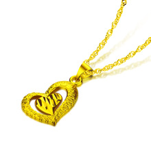 Fashion heart-shaped pendant necklace.Don't change color heart necklace.Golden necklace charm women.Gold jewelry wholesale цена