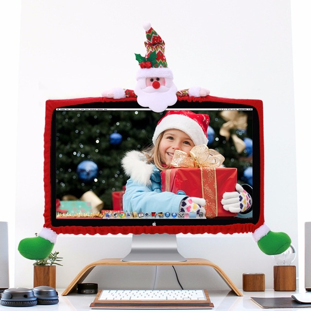 9 27inch screen desktop computer monitor 3d cover edge tv pc christmas santa elk snowman - Christmas Tv Decoration