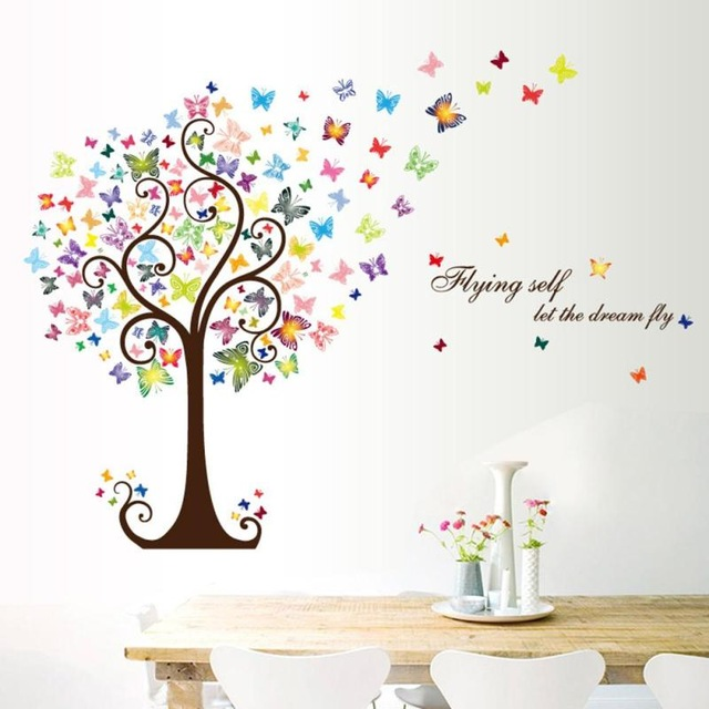 % DIY Butterfly Tree Animal Wall Sticker For Kids Room Window Glass TV Background Wall Decals Home Bedroom Decor Art Poster-in Wall Stickers from Home ...  sc 1 st  AliExpress.com & DIY Butterfly Tree Animal Wall Sticker For Kids Room Window Glass TV ...