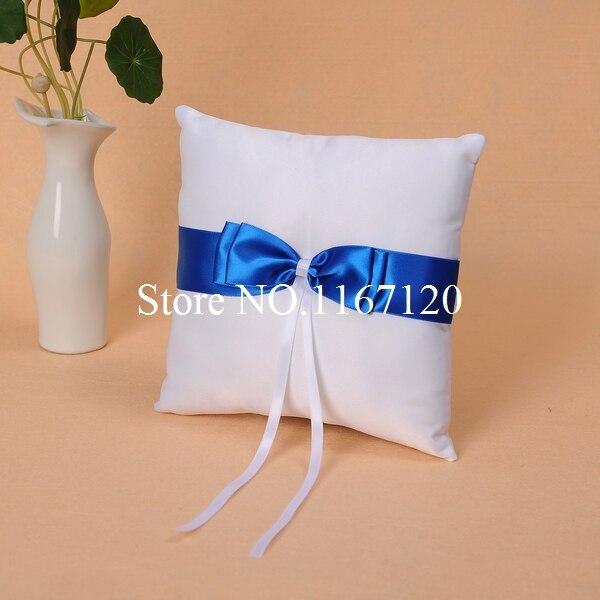 White and Royal Blue Bowknot Satin Wedding Ring Pillow Wedding Diy Supplies Cushion(P07)
