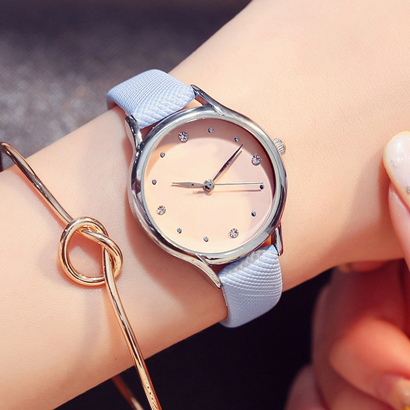 Fashion Crystal Leather Women Watch Casual Quartz Wrist Watch For Women Girl Clock Student Watch Reloj Mujer Bayan Kol Saati