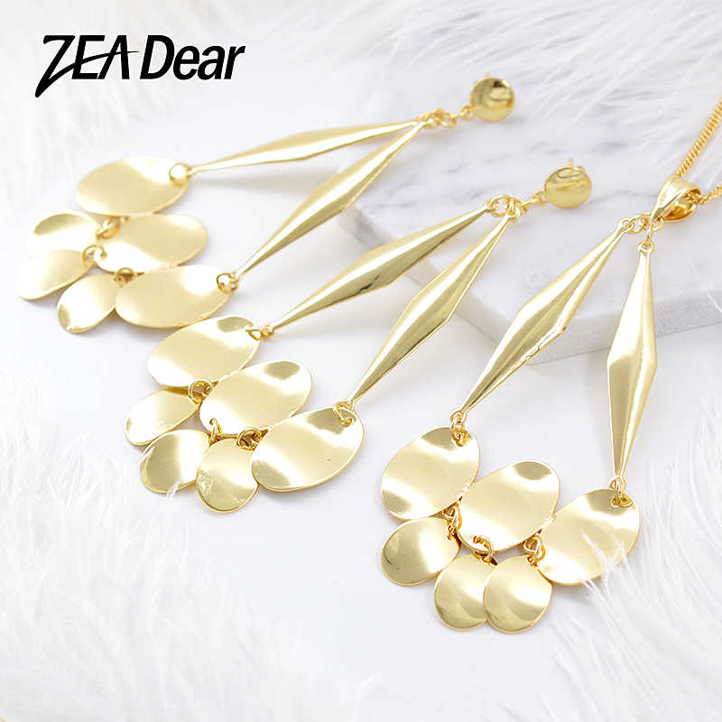 ZEADear Jewelry Statement Trendy Big Jewelry Sets Earrings Necklace Pendant For Women Gifts For Party Water Drop Jewelry Sets