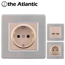 EU France Standard 16A Wall Socket Power Outlet Enchufe Stainless Steel Brushed Silver Panel Electrical Plug AC 110~250V Outlet 16a 250v aluminum silver panel eu standard pop up floor socket electrical outlet