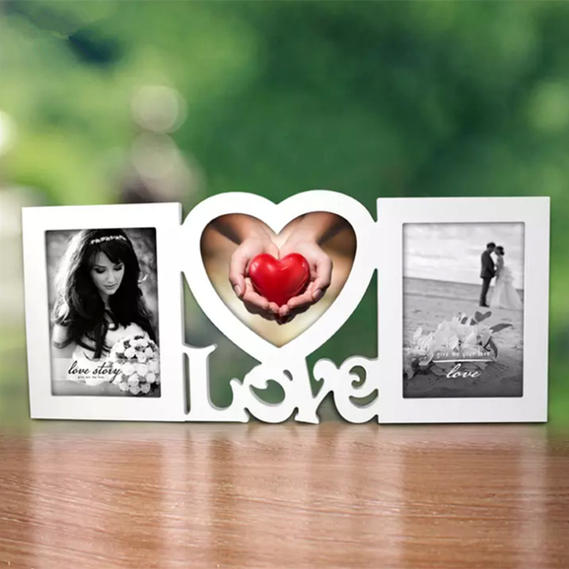 Sweet Love Photo Frame Red Heart Shape With Two Picture