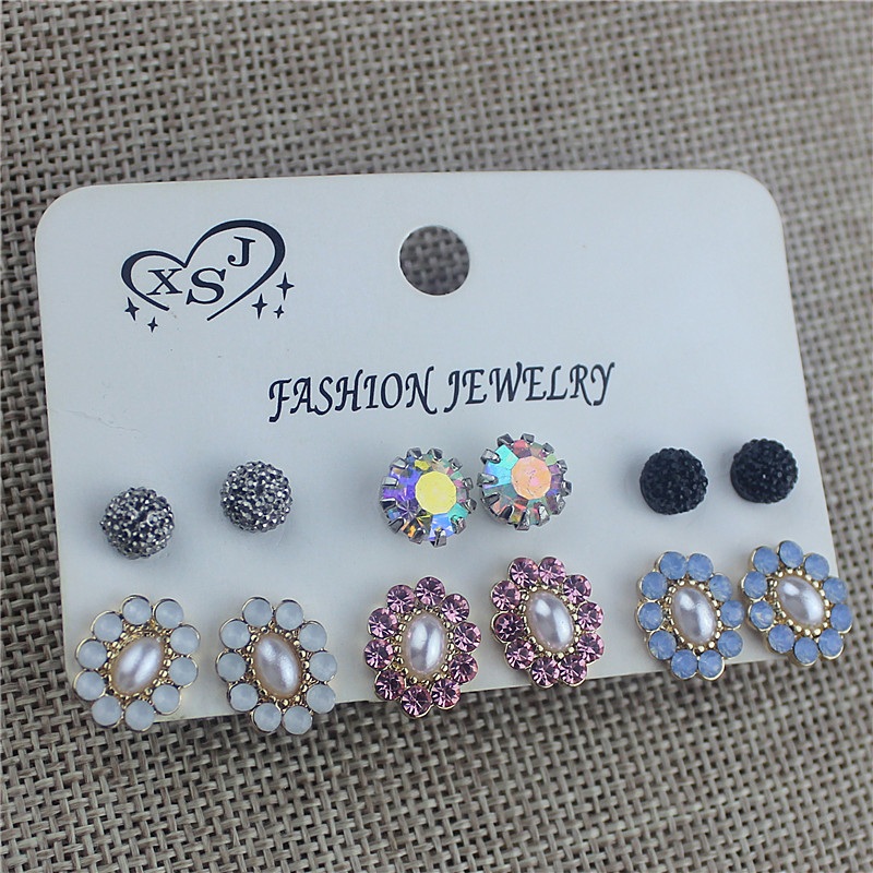The new fashion gorgeous womens jewelry wholesale girls birthday party beautiful 6 pairs/set gift earrings free shipping