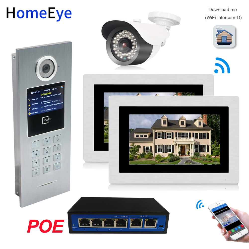 7 pollici WiFi IP Video Telefono Del Portello Del Video Campanello per Porte di Casa Sistema di Controllo di Accesso Password/Carta di RFID + POE interruttore + IP Fotocamera iOS Android