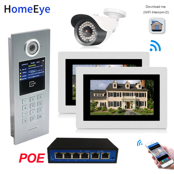 7inch WiFi IP Video Door Phone Video Door Bell Home Access Control System Password/RFID Card + POE Switch+IP Camera iOS Android zk scr100 rfid card capacity tcp ip scr100 door access control rfid access control system