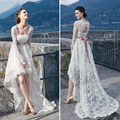 Attractive Long Sleeve Wedding Dresses 2017 White Lace Beach Wedding Dresses Lace Up Pink Sashes Sweep Train Wedding Clothes