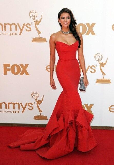 2017 Imagen Actual Sexy Red Nina Dobrev Sirena Del Amor Sin Tirantes Premios Emmy Vestidos de La Celebridad