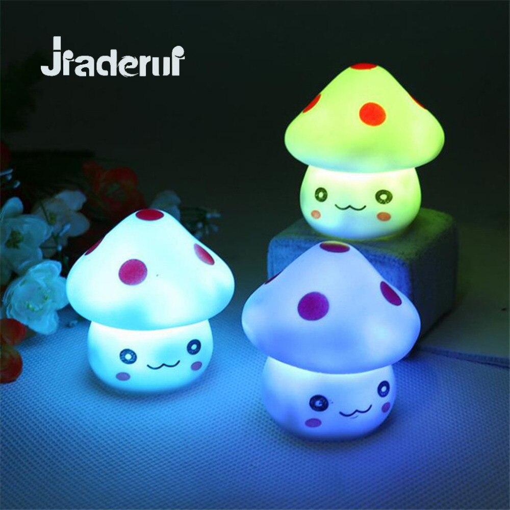 Jiaderui Novelty LED Mushroom Shaped Night Lights Colorful Changing Colors Kids Baby Bedroom Decoration Lighting Lights