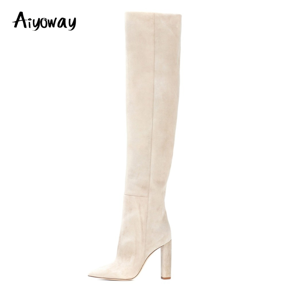 Aiyoway Fashion Women Ladies Pointed Toe High Heel Over Knee Boots Slip On Slouchy Block Heel Beige Faux Suede Winter Long Boots preppy style women s high heel boots with suede and slip on design