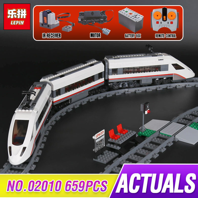 Lepin 02010 City Series The High-speed Passenger Train Remote-control Trucks Set Building Blocks Bricks Toys Compatible 60051 ynynoo lepin 02043 stucke city series airport terminal modell bausteine set ziegel spielzeug fur kinder geschenk junge spielzeug