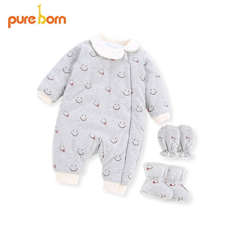Pureborn 1 Set Warm Cotton Baby Romper Winter Infant Girls Boys With Smile Face Long Sleeve Romper+First Walkers+Infant Gloves hy2062 gentleman vest cotton baby s long sleeve infant romper cloth black gray size xl