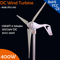 Free Shipping! 400W wind turbine generator,DC12V/24V auto sensing, with built in controller module, 2m/s low start wind speed