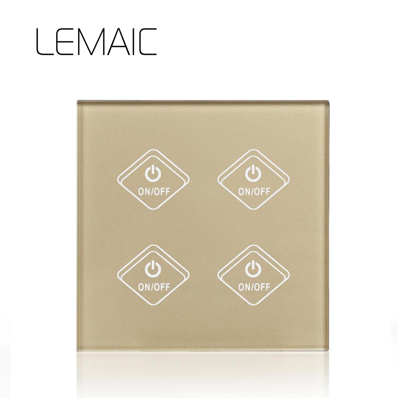 LEMAIC Standard Remote Control Switch 4 Gang 1 Way RF 433Mhz Smart Home Wall Switch Wireless remote control touch light switch cnskou eu standard 1 gang 2 way ac220 250v 1000w smart home intelligent rf 433mhz remote control touch screen glass light switch