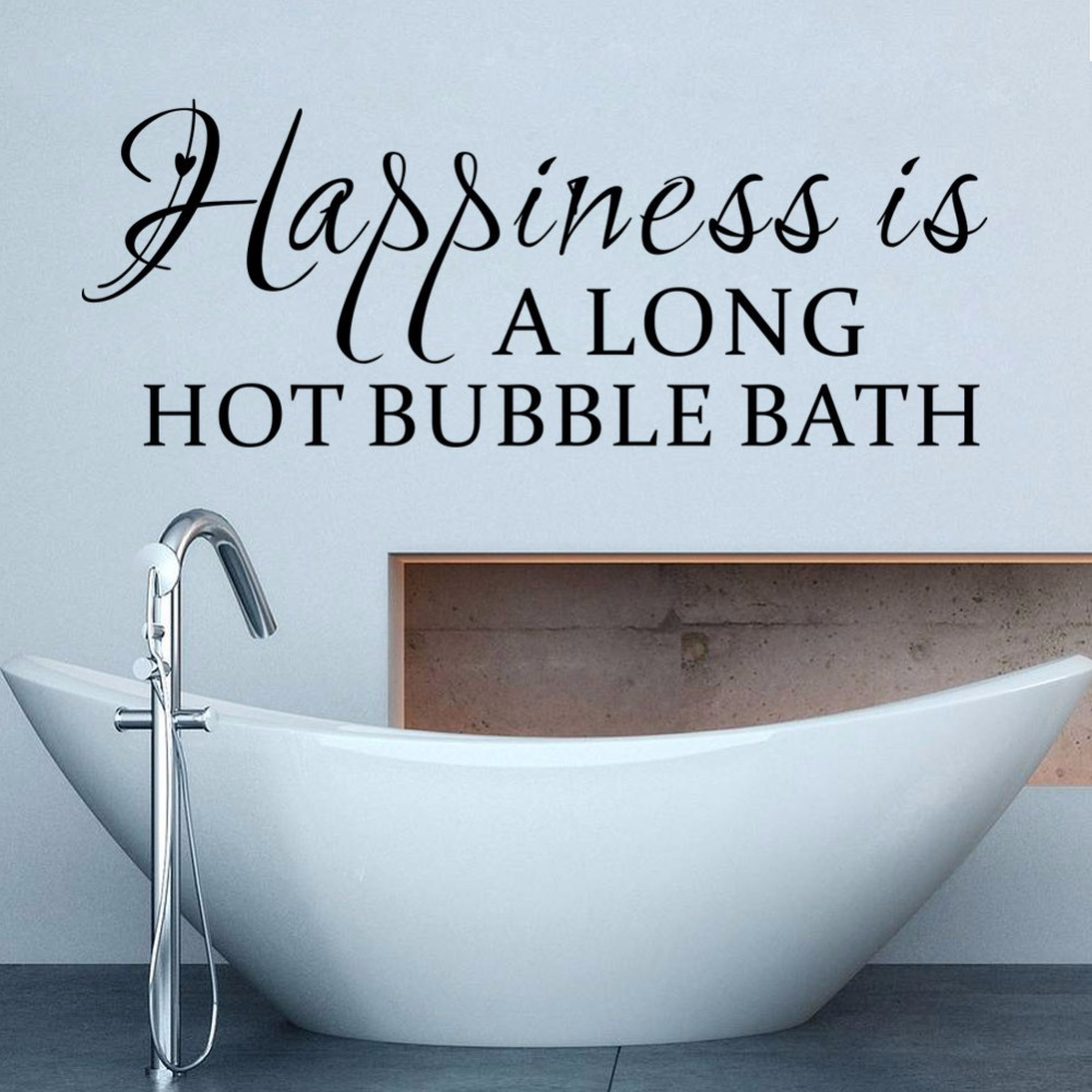 Bathroom wall decor quotes - English Letters Happiness Is Hot Bubble Bath Alone Waterproof Wall Decor Vinyl Wall Stickers Bathroom Art Wall Decal Quotes