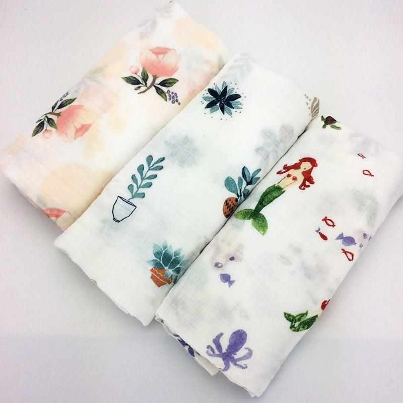 HOT new Roses mermaid 120x120cm Bamboo Fiber Baby Wrap Swaddling baby Blanket Newborn Infant Swaddle Towel