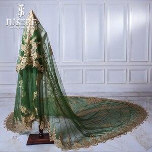 Image 3 - Jusere ירוק טול זהב תחרה אפליקציות חזרה רכבת מלא מבריק נצנצים חרוזים ארוך חתונה נישואי 3 m Sparkle כלה רעלה 2018