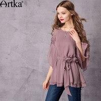 Artka Women S 2017 Summer 3 Colors Draped Chiffon Shirt Vintage O Neck Flare Sleeve Shirt