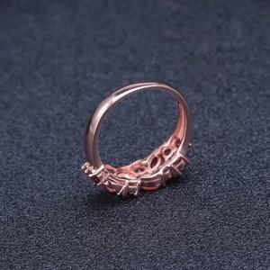 Image 5 - GEMS BALLET 925 Sterling Silver Rose Gold Plated Wedding Band 2.47Ct Natuurlijke Rode Granaat Edelsteen Ringen voor Vrouwen Fijne Sieraden