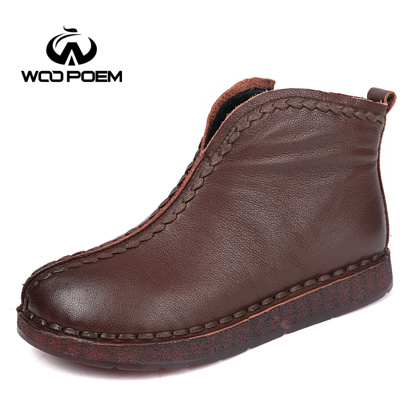 WooPoem Brand Genuine Leather Boots Winter Shoes Woman Comfort Low Flat Heel Ankle Boots Concise Retro Handmade Women Boots 1199 2018 genuine leather women boots flat heel vintage handmade women shoes ankle boots