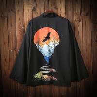 2019 men loose cotton kimono streetwear open stitch sleeve cardigan japanese style harajuku black coat
