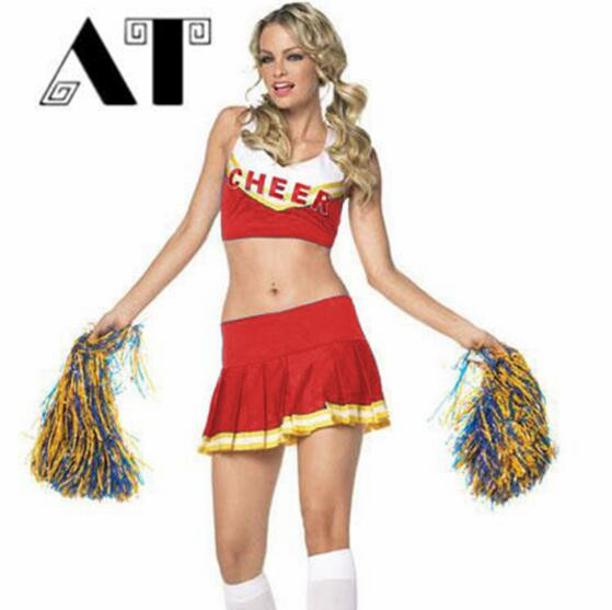 CHEERLEADER FANCY DRESS COSTUME ADULTS CHEER UNIFORM OUTFIT
