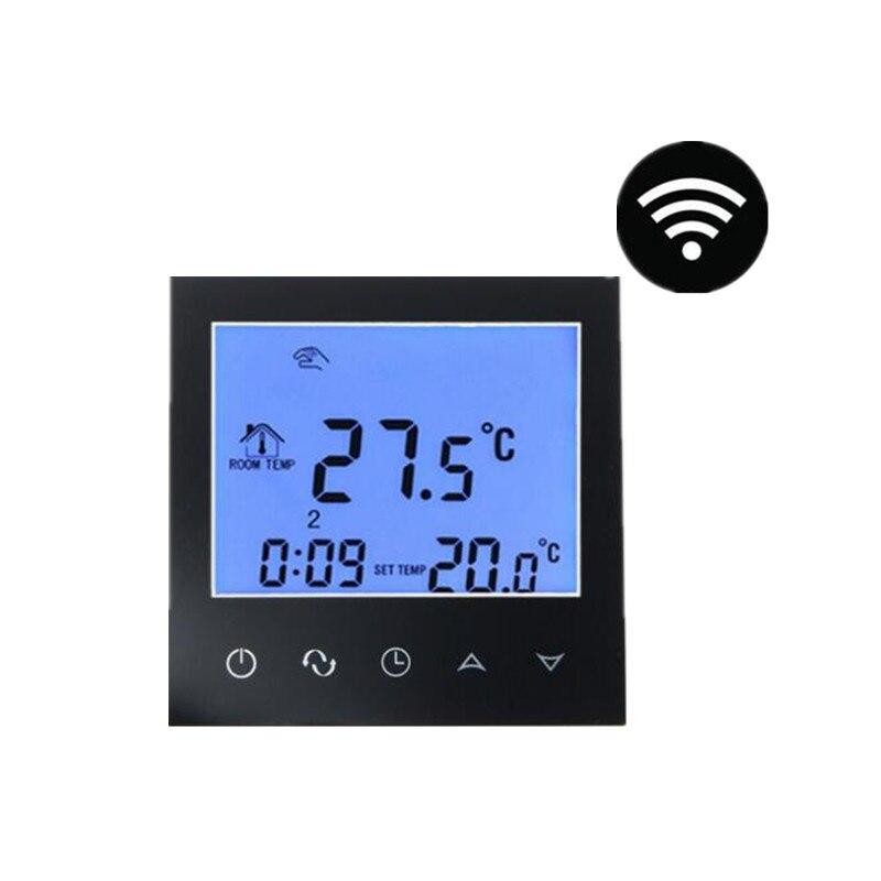 Preto Digital Termostato De Aquecimento Piso Radiante Programável Controlador de Controle Remoto Com Sensor de Temperatura Quente AC200-240V