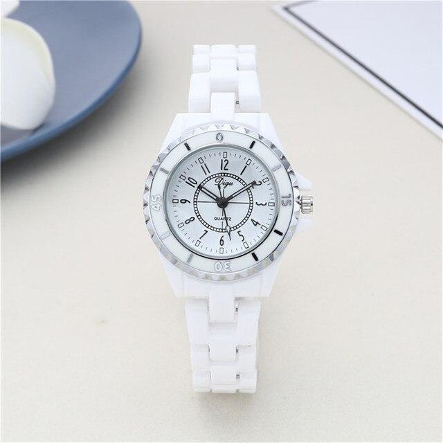 Female Quartz Watch Ceramic Watch White Diamond Waterproof Ladies